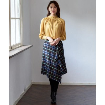ANAYI/アナイ ループチェックドレープスカート ライトグレー1 36
