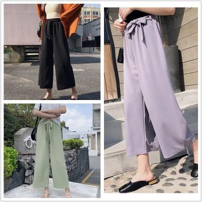 2020夏の装いの新型の緩い腰のゆったりしているズボンの薄いタイプの女性のズボンの高腰のレジャーのまっすぐな筒の垂感のズボン レディースファッション 韓国ファッション
