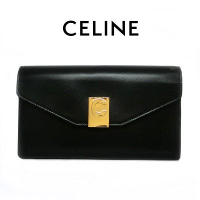 セリーヌ 二つ折り 長財布 かぶせ CELINE 10C703BQ8 ブラック Cスナップボタン カーフレザー(t20)