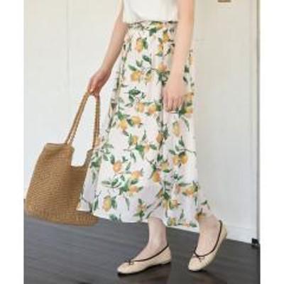 ROPE' PICNIC(ロペピクニック)レモン柄プリントマキシスカート【お取り寄せ商品】
