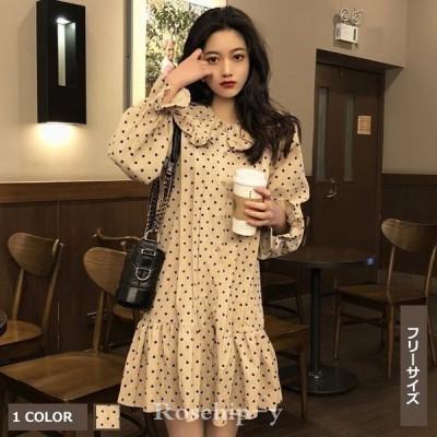 ワンピースコーデュロイスカートドット柄襟付きフェミニンレトロ可愛っぽ韓国風カジュアルデコルテデート謝恩会お呼ばれ