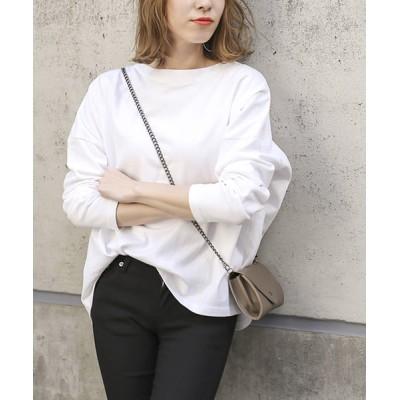 select MOCA / 豊富なカラーバリエーション◆コットン100%ドロップショルダーボックスシルエット長袖ボーダーカットソー WOMEN トップス > Tシャツ/カットソー