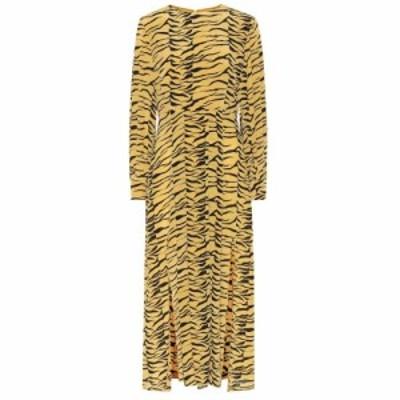 リキソ Rixo レディース ワンピース ミドル丈 ワンピース・ドレス Emma tiger-print silk midi dress Abstract S Floral Swirl