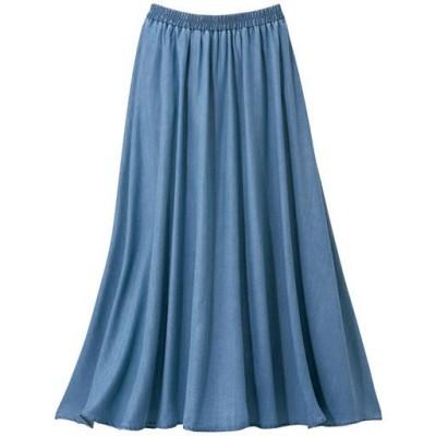 【ぽっちゃりさんサイズ】とろみデニムスカート/ライトブルー/3L(85~93)