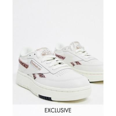 リーボック レディース スニーカー シューズ Reebok Classic Club C Double sneakers in white with leopard print detail