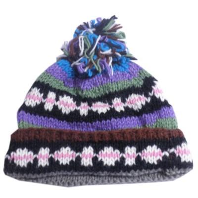 帽子 ネパール・手編みボンボン帽子22 クリックポスト選択 送料200円