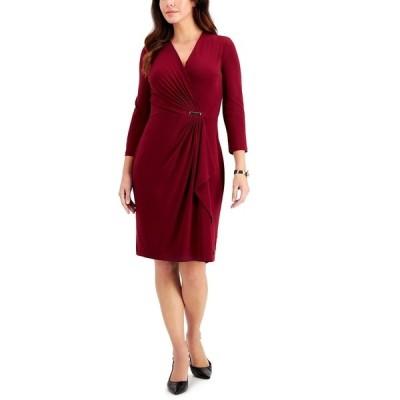 チャータークラブ ワンピース トップス レディース Hardware Faux-Wrap Dress, Created for Macy's Harvest Wine