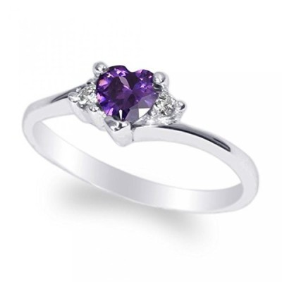 ジェームスジェニー 指輪 レディース用 JamesJenny Ladies White Gold Plated 0.5ct Heart Purple CZ Fashion Ring Size 4.5