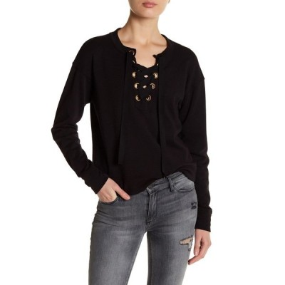 ブラックオーキッド レディース Tシャツ トップス Lace-Up Sweatshirt BLACK