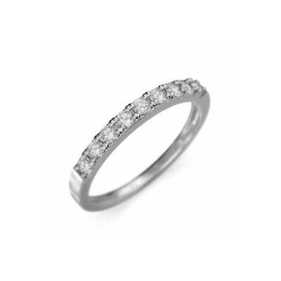 天然ダイヤ 平らな指輪 ハーフ エタニティ 指輪 10kホワイトゴールド 幅約2mmリング 少し細め