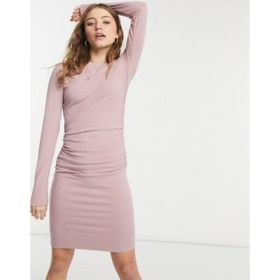 ネイキッド ミディドレス レディース NA-KD ruched rib jersey mini dress in dusty pink エイソス ASOS ピンク
