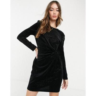 アンドアザーストーリーズ & Other Stories レディース ワンピース ミニ丈 ワンピース・ドレス recycled twist front mini dress in black ブラック