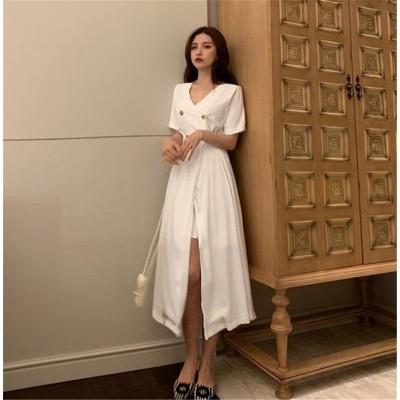 クーポン適用でお得に💓韓国ファッション CHIC気質 おしゃれな 大人気 新品 トレンド Vネック スリム 中・長セクション ワンビース