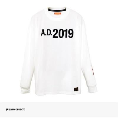 サンダーボックス THUNDERBOX A.D.2019 L/S TEE   WHITE Tシャツ ロンT ロングスリーブ 長袖 ロゴ 袖プリント オーバーサイズ メンズ ホワイト