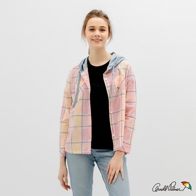 Arnold Palmer -女裝-水染感粉彩大格連帽襯衫-粉色