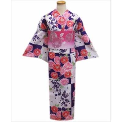 夏粋浴衣&ラメ入グラデーション半巾帯2点セット紫白市松地八重桜