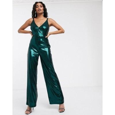 アイビーレベル レディース ワンピース トップス Ivyrevel sequin jumpsuit in dark green Dark green