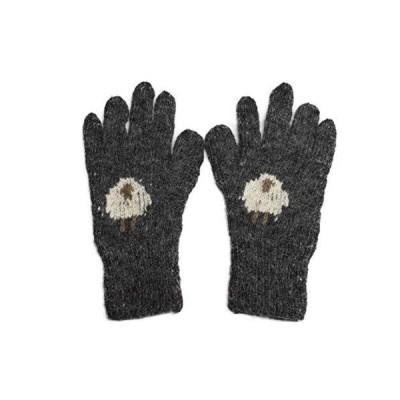 手紡ぎアルパカ100%の高級手編み手袋(チヤコール) ap-gu-na9103-5