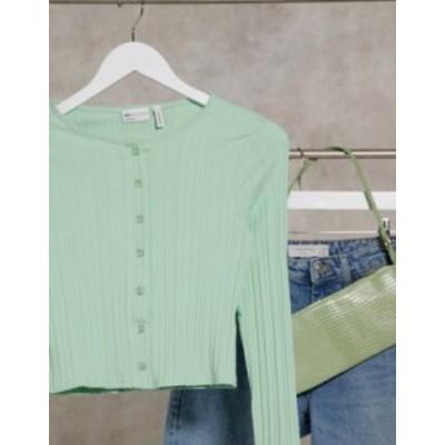 エイソス レディース シャツ トップス ASOS DESIGN top in rib with buttons in sage Sage green