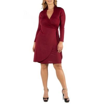 24セブンコンフォート レディース ワンピース トップス Plus Size Knee Length Long Sleeve Wrap Dress