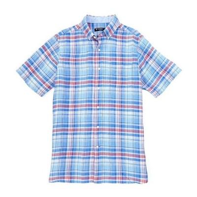 ダニエル クレミュ メンズ シャツ トップス Plaid Vista Blue Short-Sleeve Linen Woven Shirt