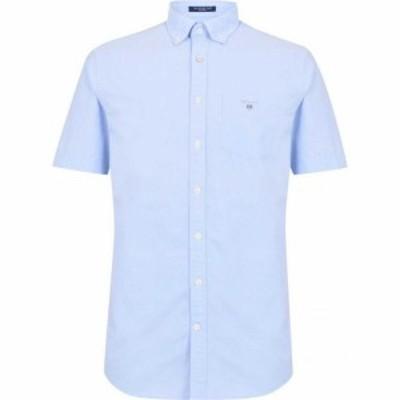 ガント Gant メンズ 半袖シャツ ワイシャツ トップス Short Sleeve Oxford Shirt Capri Blue