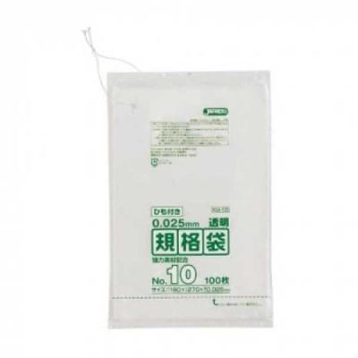 ゴミ袋、ポリ袋、レジ袋関連 ジャパックス LD規格袋 厚み0.025mm No.10 ひも付き 透明 100枚×10冊×6箱 KU10