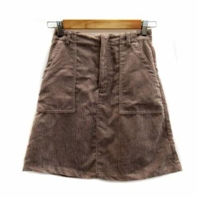 【中古】オリーブデオリーブ OLIVE des OLIVE スカート 台形 ひざ丈 無地 コーデュロイ M ライトグレー レディース