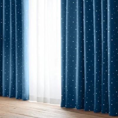 厚地カーテン キロロ ネイビー(1枚) 巾100cm×丈105cm