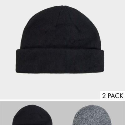 エイソス ASOS asos ASOS DESIGN2パックミニフィッシャーマンブラックとブラックツイストSAVE 帽子 メンズ 男性 インポートブランド