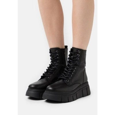レディース ブーツ Lace-up ankle boots - black