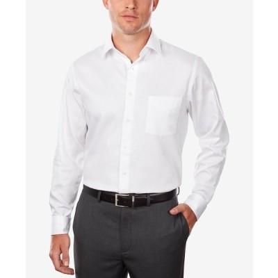 ヴァンハウセン シャツ トップス メンズ Men's Classic/Regular Fit Stretch Wrinkle Free Sateen Dress Shirt White