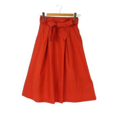 【中古】ブラーミン BRAHMIN フレア ロングスカート タック ベルト付き 38 オレンジ系 レディース 【ベクトル 古着】