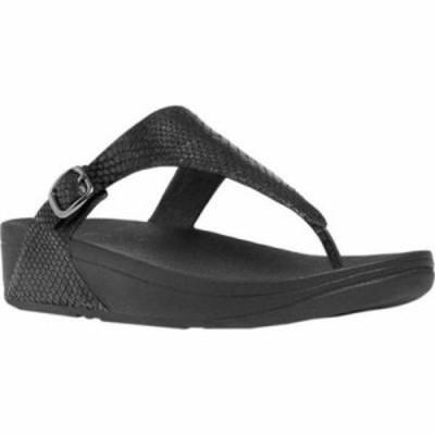 フィットフロップ ビーチサンダル The Skinny Thong Sandal Black Snake Print Embossed Leather