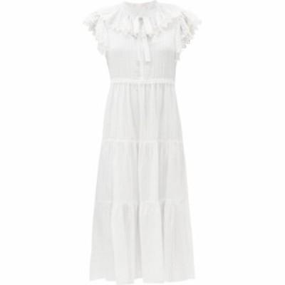 クロエ See By Chloe レディース ワンピース ミドル丈 ワンピース・ドレス Ruffled cotton-voile midi dress White