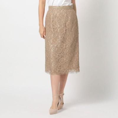 ミッシュマッシュ MISCH MASCH 《田中みな実さん着用》合皮テープ付レースタイトスカート (モカ)