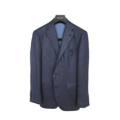 30%OFFセール ミラショーン メンズジャケット ロロピアーナ素材 シルク カシミヤ ブルー スラブチェック  MS01