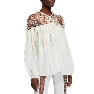 ガブリエラ ハースト レディース シャツ トップス Aglaia Long-Sleeve Blouse with Silk Macrame
