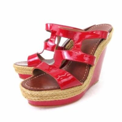 【中古】クリスチャンルブタン Christian louboutin ウエッジソールサンダル パテントレザー 赤 レッド 靴 ☆AA★