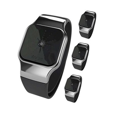 MvBii z-Track Granite Wearable Lifestyle, Activity and Fitness Tracker and Watch with Silver Surround and Black Wrist Strap (Pack of 4) 並行輸入