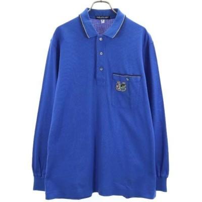 美品 ハーディーエイミス ロゴ ワッペン 長袖 ポロシャツ L ブルー HARDY AMIES 日本製 メンズ 古着 210218