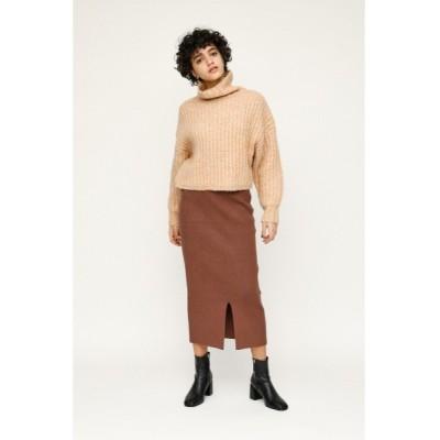 スカート FRONT SLIT RIB ミディアムスカート