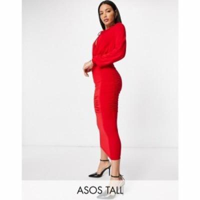 エイソス ASOS Tall レディース ワンピース ミドル丈 ワンピース・ドレス Asos Design Tall Blouson Tie Long Sleeve Midi Dress With Si