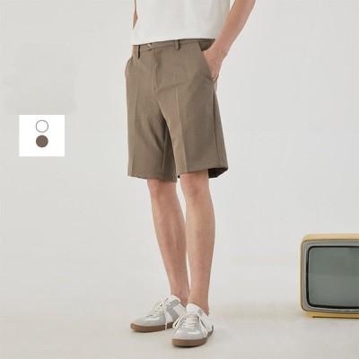 ハーフパンツ ショートパンツ メンズ 短パン レジャー 無地 シンプル ポリエステル100% シワになりにくい 春夏 涼しい