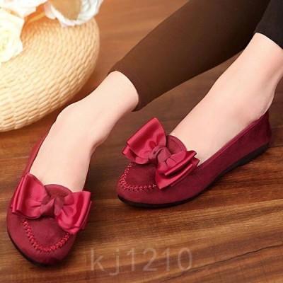 パンプスレディースチャイナ靴コンフォートパンプス中華シューズペキン布靴ベーシックリボン2色レッドブラック