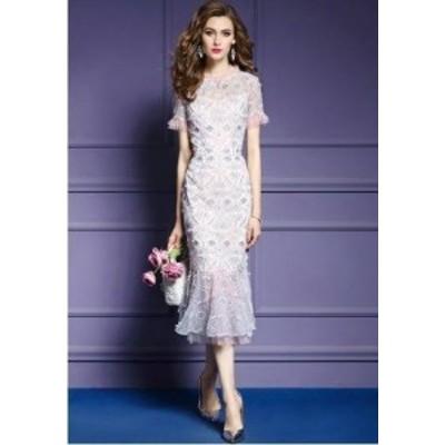ロングドレス 袖あり パーティードレス イブニングドレス 春夏 結婚式 二次会 披露宴 パステルカラー 大きいサイズ ロング丈 ミモレ丈 半