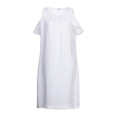 LFDL ひざ丈ワンピース ホワイト S リネン 100% ひざ丈ワンピース
