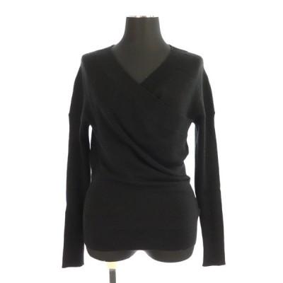 【中古】エポカ EPOCA ウールカシュクールデザインニット セーター 長袖 40 黒 ブラック /MY ■OS レディース 【ベクトル 古着】
