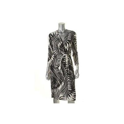 アンクライン ドレス ワンピース Anne Klein 7954 レディース B/W プリントed Faux ラップ Wear to Work ドレス 16 BHFO