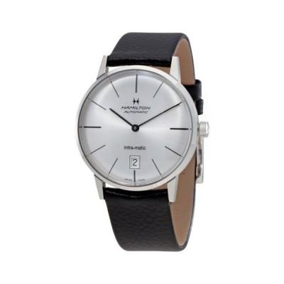 腕時計 ハミルトン Hamilton Intra-Matic シルバー ダイヤル レザー メンズ 腕時計 H38455751